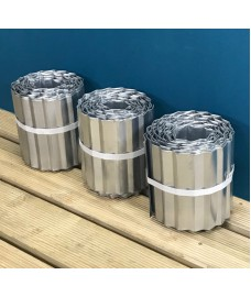 Set of 3 Galvanised Steel Lawn Edging Rolls (16.5cm x 5m)