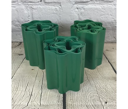 Set of 3 Green Plastic Garden Lawn Edging (9m x 15cm Roll)