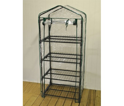 Four Tier Mini Greenhouse with Clear View Cover