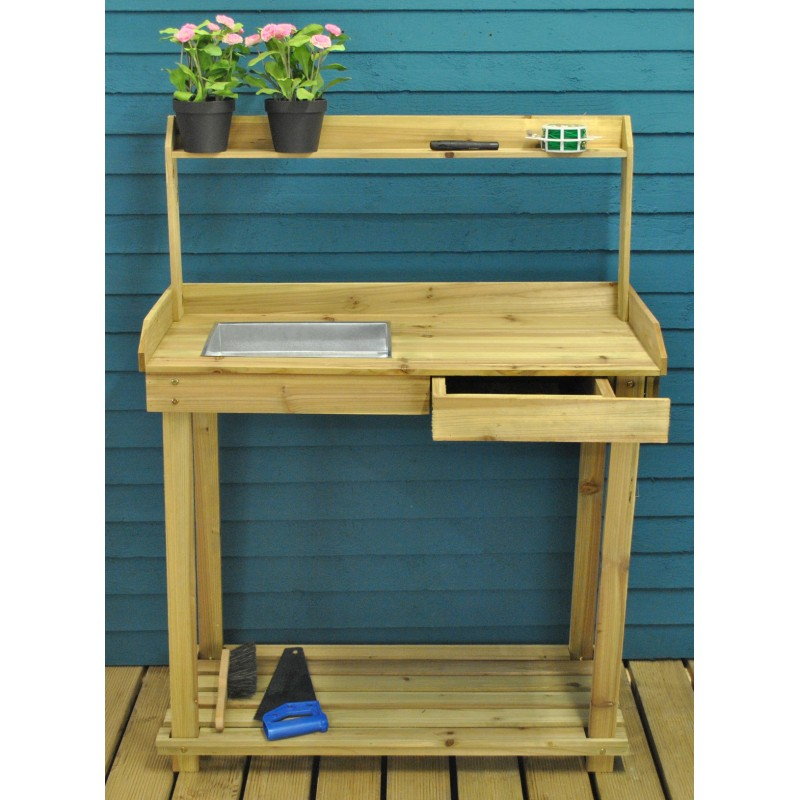Wooden Potting Table with Drawer, Two Storage Shelves and Zinc Soil Holding Pan  - Damaged Box Stock