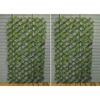Set of 2 Green Japanese Maple Artificial Garden Leaf Trellis (1.8m x 0.9m)