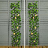 Set of 2 Champagne Rose Artificial Garden Leaf Trellis (1.8m x 0.3m)
