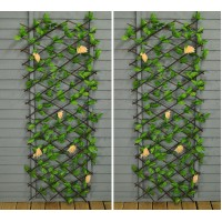 Set of 2 Champagne Rose Artificial Garden Leaf Trellis (1.8m x 0.6m)
