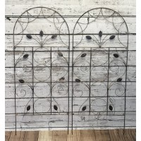 Set of 2 x Leaf Design Metal Trellis (120cm x 50cm)