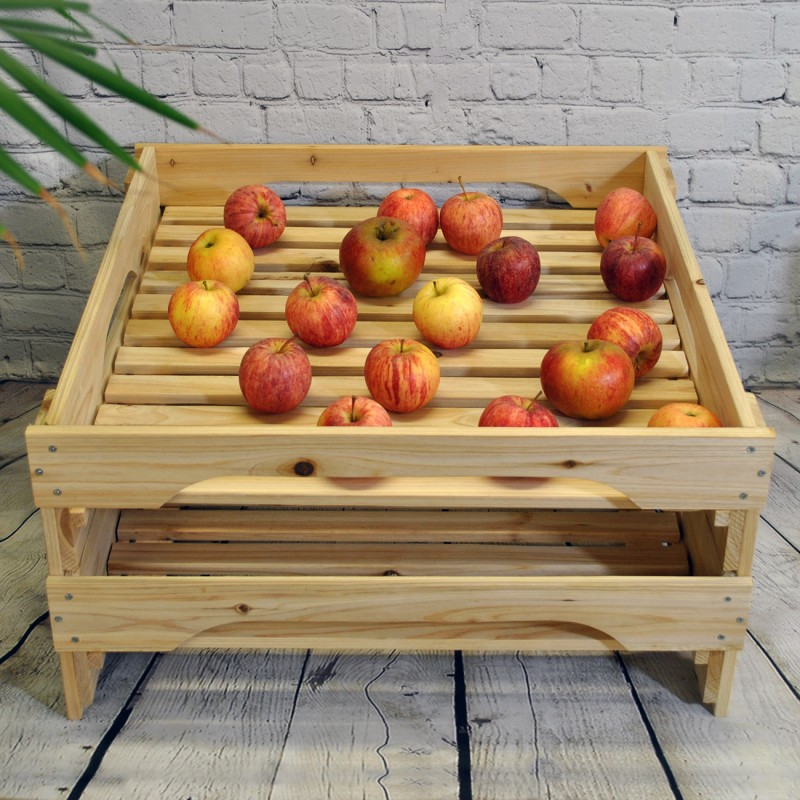 Traditional Wooden Apple Storage Tray Rack (Set of 2)