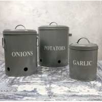Set of 3 Metal Kitchen Storage Tins for Potato, Onion and Garlic in French Grey