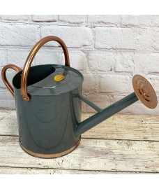 French Grey & Copper Metal Watering Can with Rose (9 Litre)