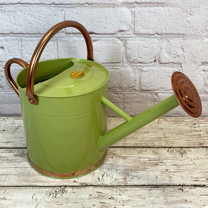 Sage Green & Copper Metal Watering Can with Rose (9 Litre)