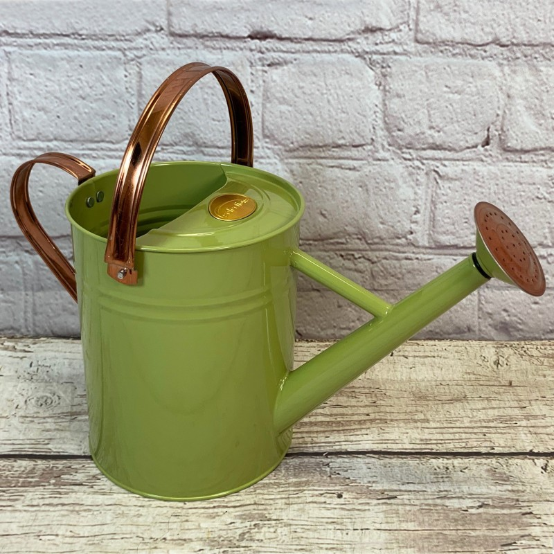 Sage Green Metal & Copper Watering Can (3.5 Litre)