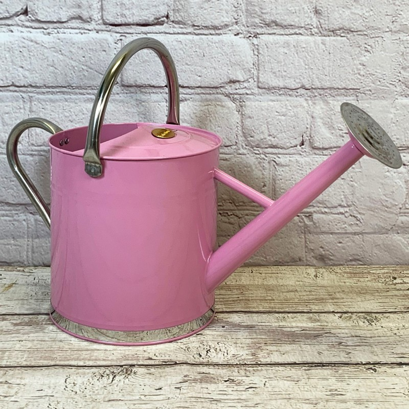 Pink & Chrome Metal Watering Can with Rose (9 Litre)