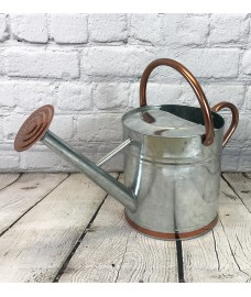 Silver & Copper Trim Metal Watering Can with Rose (9 Litre)