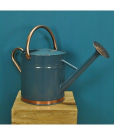 Heritage Blue & Copper Metal Watering Can with Rose (9 Litre)