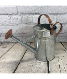 Silver & Copper Style Trim Metal Watering Can (4.5 Litre)