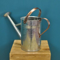 Factory Second - Silver & Copper Style Trim Metal Watering Can (4.5 Litre)