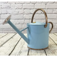 Duck Egg Blue & Copper Metal Watering Can with Rose (9 Litre)