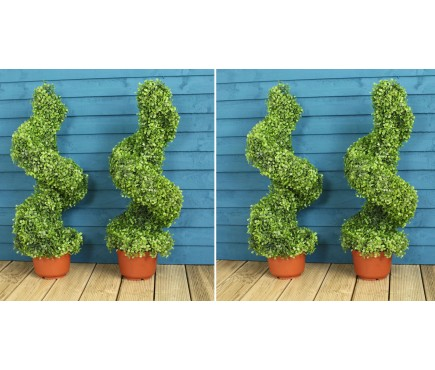 Set of 4 Leaf Effect Artificial Topiary Swirl Shaped Trees (80cm)