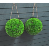 Set of 2 Grass Effect Artificial Topiary Balls (26cm)