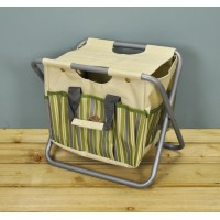 Garden Tool Storage Seat in Green & Grey Stripe by Fallen Fruits
