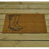 Welly Boots Design Coir Doormat by Garden Trading