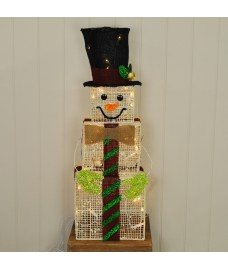 Light Up Square Snowman (75cm) Christmas Decoration by Kingfisher