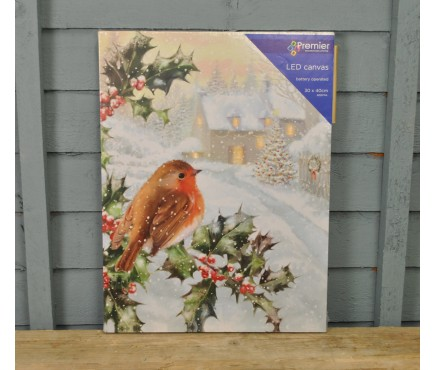 Robin Christmas Scene Canvas with LEDs by Premier