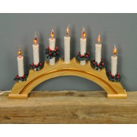 Christmas Rainbow Flickering Light Candle Bridge (Mains Powered) by Premier
