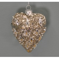 Glass Silver Hinged Christmas Bauble (10cm) by Premier
