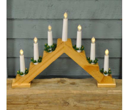 Wooden Christmas Candle Bridge Light (Battery Operated) 40cm by Premier