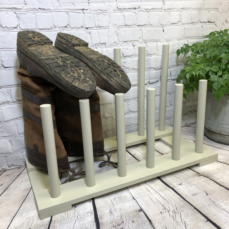 Wooden Welly Boot Rack Organiser in Light Grey (6 Pairs)