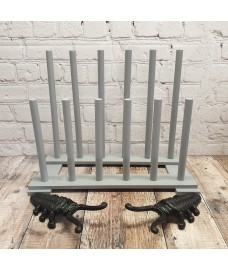 Wooden Welly Boot Rack Organiser in Light Grey with Two Cast Iron Beetle Boot Jacks