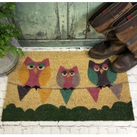 Sleepy Owls on Bunting Coir Doormat