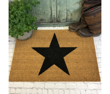 Large Charcoal Star Indoor & Outdoor Coir Doormat