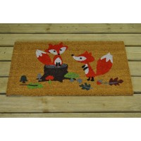 Two Foxes in Woodland Design Coir Outdoor Doormat