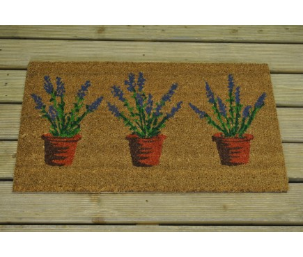 Three Lavandula Pots Coir Outdoor Doormat