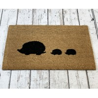 Hedgehog Family Silhouette Indoor & Outdoor Coir Doormat