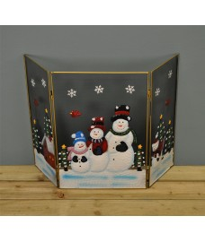 Snowman Family Christmas Folding Fireguard Screen by Premier