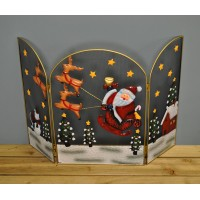 Santa and Sleigh Christmas Folding Fireguard Screen by Premier