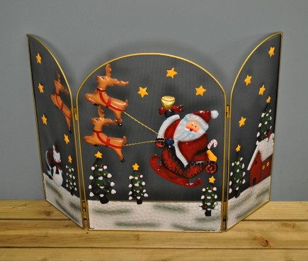 Santa and Sleigh Christmas Folding Fireguard Screen (49cm) by Premier