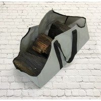 Canvas Log Carrier Firewood Bag in French Grey