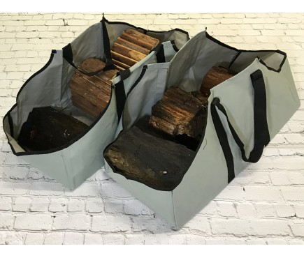 Set of 2 Canvas Log Carrier Firewood Bags in French Grey