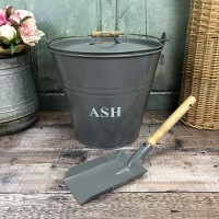 Fireside Ash Bucket & Shovel in French Grey
