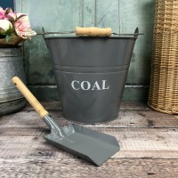 Fireside Coal Bucket & Shovel in French Grey