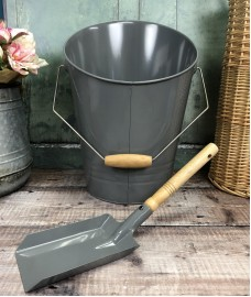 Fireside Coal Scuttle & Shovel in French Grey