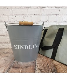 Fireside Kindling Bucket in French Grey with Canvas Log Carrier Bag