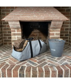 Fireside Ash Bucket in French Grey with Canvas Log Carrier Bag