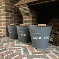Fireside Bucket Collection Ash, Coal And Kindling in French Grey