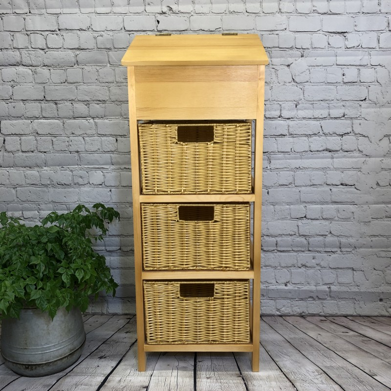 Wooden Vegetable and Potato Store with Wicker Baskets