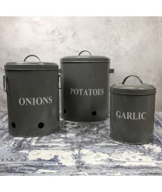 Set of 3  French Grey Kitchen Storage Tins for Potatoes, Onions and Garlic - Damaged Box Stock