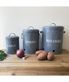 Set of 3  French Grey Kitchen Storage Tins for Potatoes, Onions and Garlic