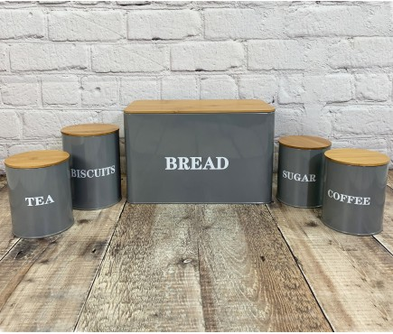 Kitchen Storage Set in French Grey (Bread, Tea, Coffee, Biscuits, Sugar)
